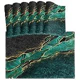 Oarencol, set di 6 tovagliette all'americana in marmo nero e verde acqua, resistenti al calore, lavabili per cucina, sala da pranzo