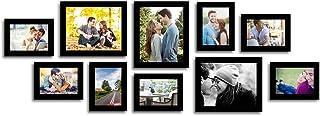 Art street Encage Set of 10 Individual Black Fiber Wood Wall Photo Frames