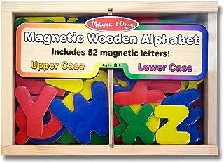 Melissa & Doug Alphabet Wooden 52 Magnets-in-a-Box Gift Set & 1 Scratch Art Mini-Pad Bundle (00448)