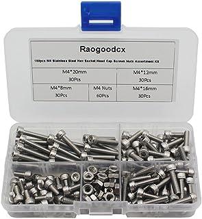 Raogoodcx M4 六角穴付きボルト セット ステンレス 修理ツール ナット 8mm 12mm 16mm 20mm 詰め合わせ 収納ケース付き 180本入り