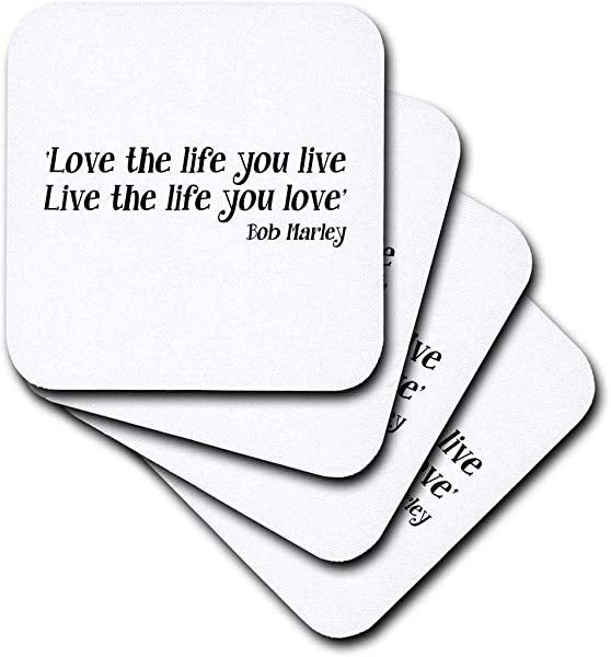 3dRose Cst 163993 2 Love The Life You Live Live The Life You Love Quote Soft Coasters Set Of 8