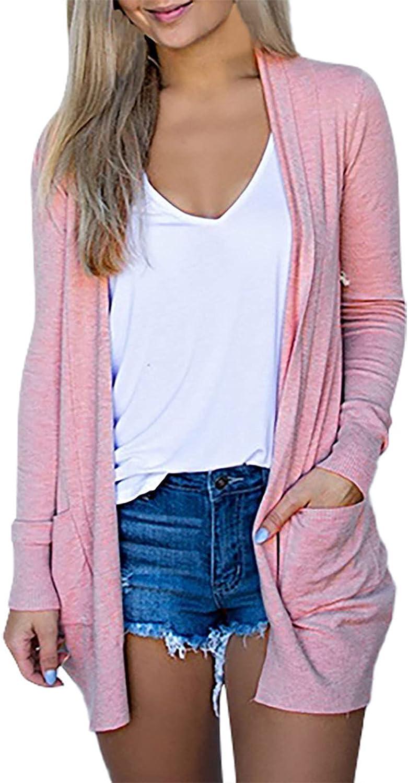 Fall Cardigan Sweaters for Women Long Sleeve Light Weight Coat Soft Knit Outerwear Plus Loose Drape Kimono Coat