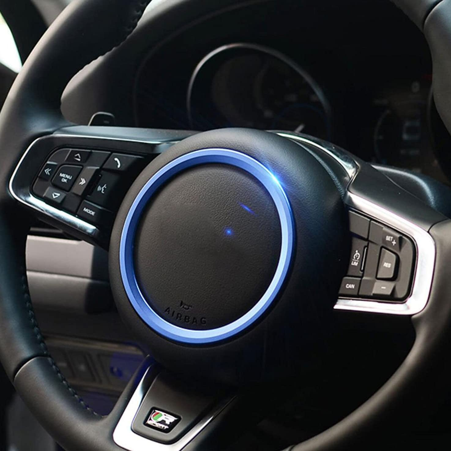 カウンターパートホーン休眠Jicorzo - Car Styling Steering Wheel Cover Trim Interior Chrome Decor Ring Sticker For Jaguar XF XE F-Pace F-Type 2016 2017 Car Accessory [Blue]