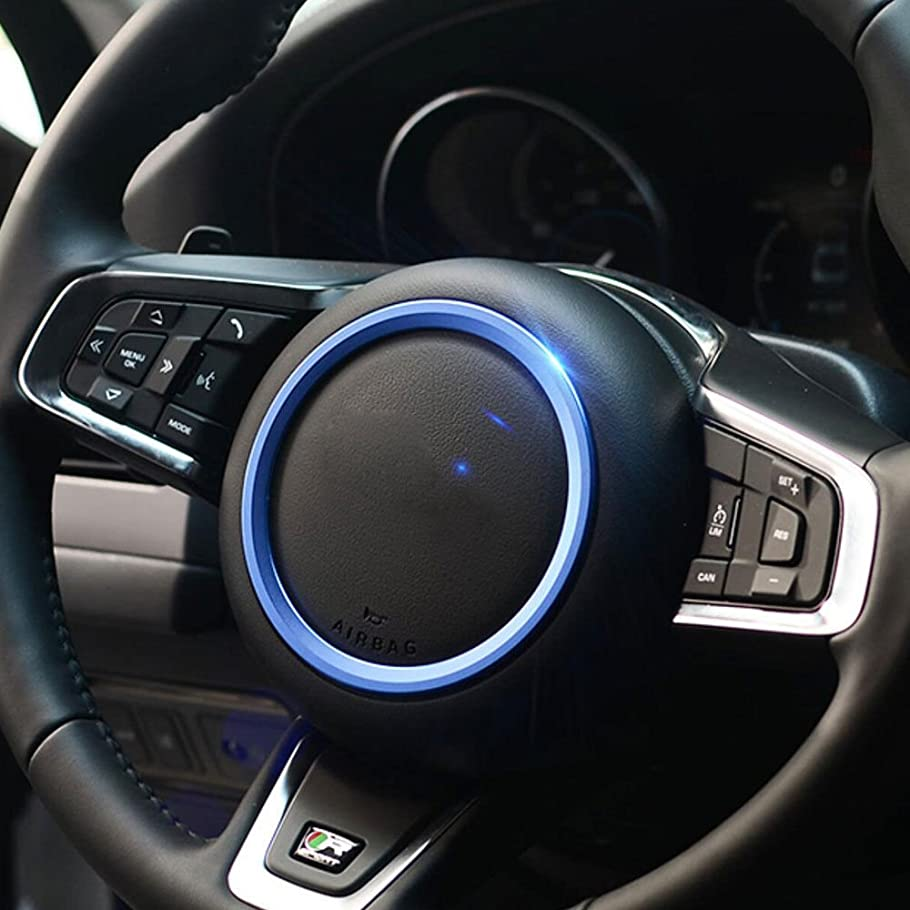 配当スキッパー報酬Jicorzo - Car Styling Steering Wheel Cover Trim Interior Chrome Decor Ring Sticker For Jaguar XF XE F-Pace F-Type 2016 2017 Car Accessory [Blue]