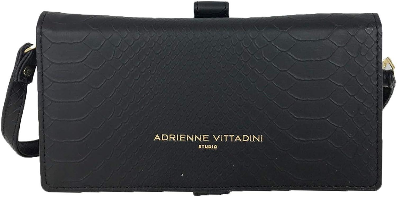 Adrienne Vittadine Snake Embossed Phone Charging Wallet Crossbody, Black
