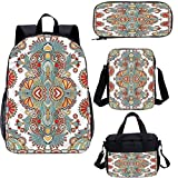 Oriental 15 'mochila escolar y bolsa de almuerzo, diseño folklore europeo 4 en 1 conjuntos de mochila