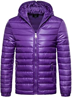 Men's Solid Color Hooded Down Jacket (Color : Purple, Size : XL)