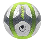 UHLSPORT - ELYSIA SALA - Ballon Football - Design Ligue 1 - Cousu main - blanc/bleu marine/jaune fluo
