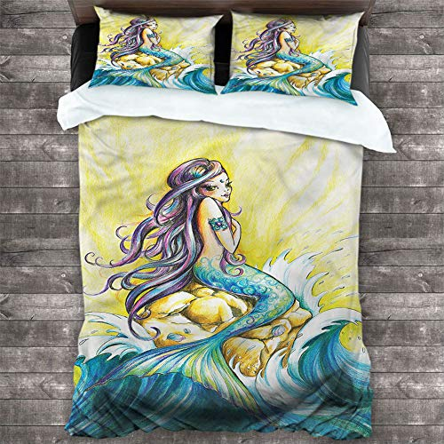 Washed Duvet Cover Set Mermaid,Fantasy Woman on Rock 1Comforter Cover and 2 Pillow Shams Brushed Microfiber Bedding, Cal King 90'x90'