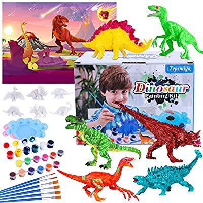TEPSMIGO Crafts Dinosaur Painting Kit, Kids DIY Crafts and Arts Supplies Dinosaur Toys, Paint Your Own Dinosaur Figures, Educaional Learning Toys with 3 Washable Paint Sets, Gift for Boys Girls