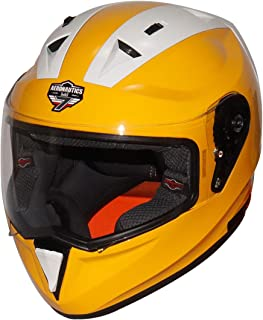 Steelbird SA-1 7Wings Twotone Aeronautics Full Face Helmet (600MM Large, Glossy M.Yellow/White with Plain Visor)