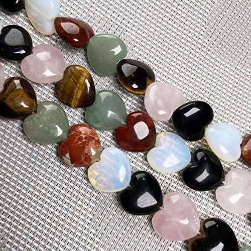 Piedra Natural En Forma De Corazón Cuentas Sueltas Cuentas De Cadena Semielaboradas De Cristal para Hacer Joyas DIY Pulsera Collar Accesorios-15,16X16X8Mm