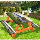 LEWIS FRANKLIN Cortina de ducha balinesa mesa de picnic y banco, mantel ajustable, de borde elástico, de Rice Fields Tropics Land de 50 cm x 172 cm, juego de 3 piezas para mesa plegable