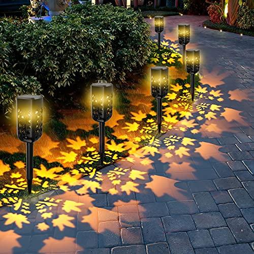 Luces solares Jardín, T-SUN 6 Pcs IP65 LED al Aire Libre Lamparas solares Jardín/Paisaje Impermeable, Energía Solar Luces Jardín, Luz Solar de Césped Para Pasillo, Césped, Patio