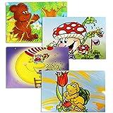 COM-FOUR 4x Manteles individuales de vinilo para niños - Manteles coloridos con motivos de ratón, tortuga de hongo oso (04 piezas - 43.5x28.3cm motivos infantiles 5)