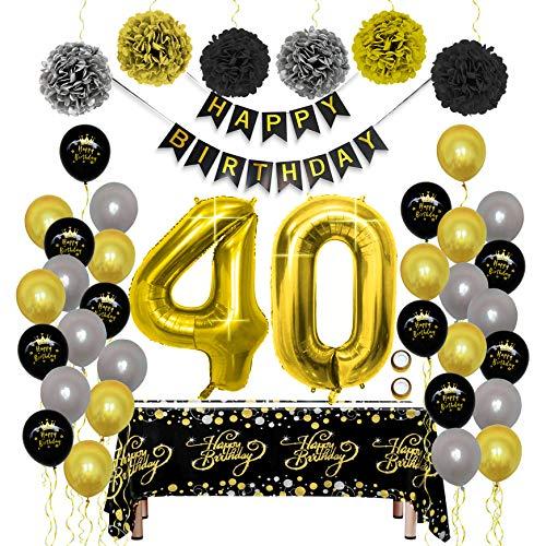 40 Ans Décorations de Fête en Noir Or, Bannières de Joyeux Anniversaire Pom Poms Feuille Numéro 40 Ballon, Happy Birthday D'or Hommes Femmes Ami Adult Papa Maman Père Mère Deco