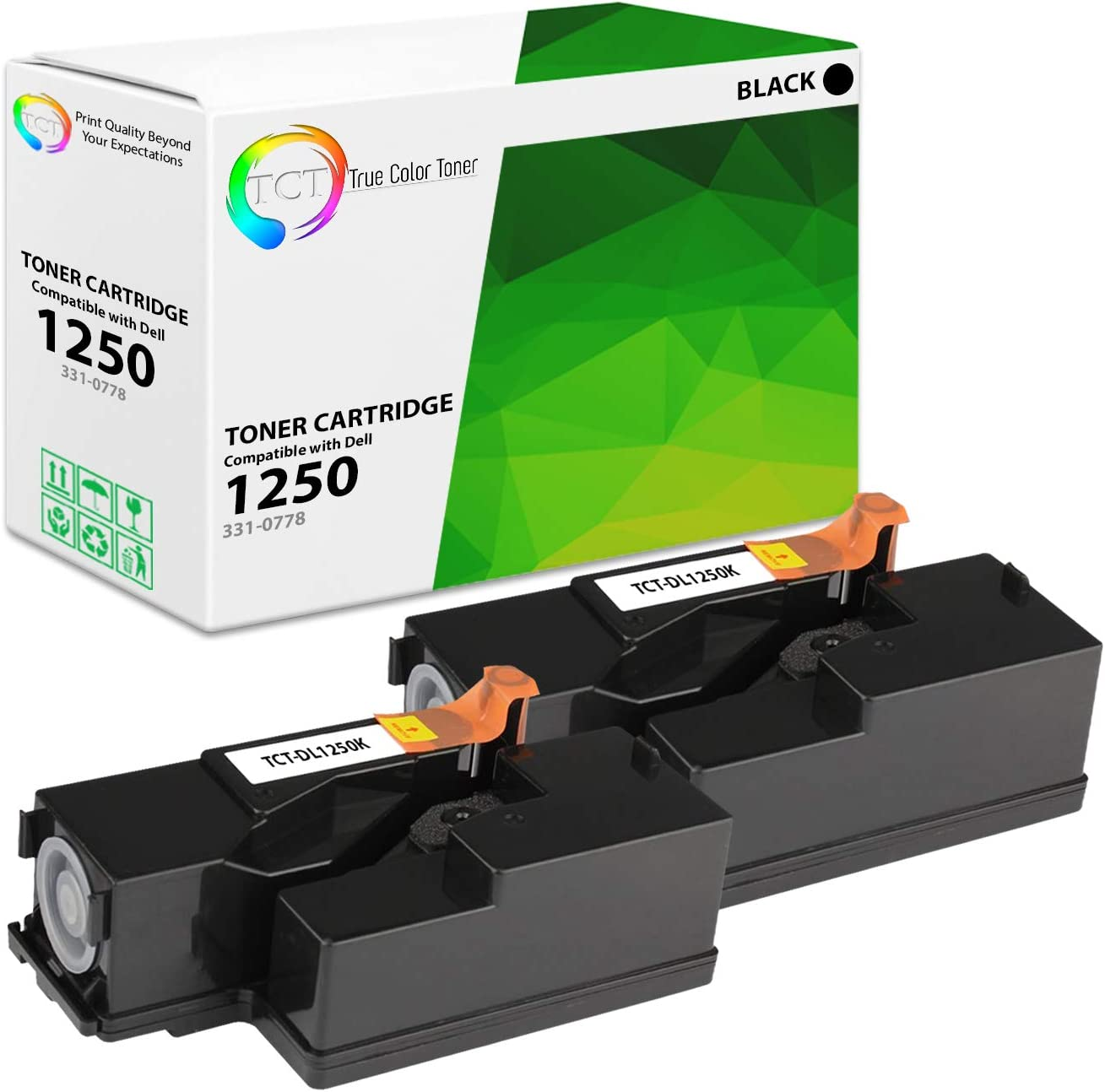 TCT Premium Compatible Toner Cartridge Replacement for Dell 331-0778 Black Works with Dell 1350CNW 1355CN, C1760NW C1765NF Printers (2,000 Pages) - 2 Pack