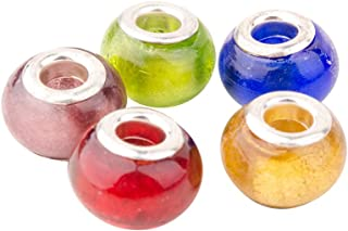 Pandahall 5PCS 14x11mm Mixed Color Handmade European Glass Beads, Silver Foil Glass, Silver Color Brass Core, Rondelle