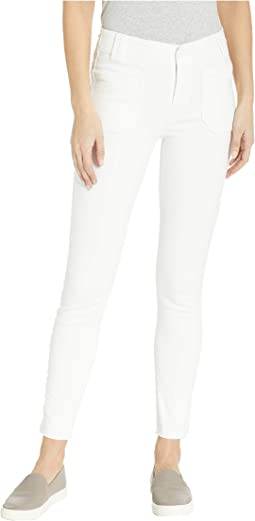 Utilitarian Hoxton Ankle Jeans w/ Raw Hem in Crisp White