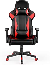 AmazonBasics Gaming/Racing Style Office Chair with Removable Headrest and High Back Cushion - Red