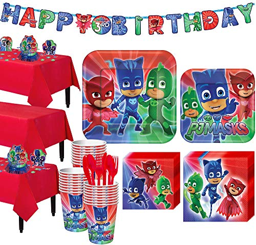 Party City PJ Masks Tableware Party Supplies for 24 Guests, Include Plates, Napkins, Table Covers, and Decorations