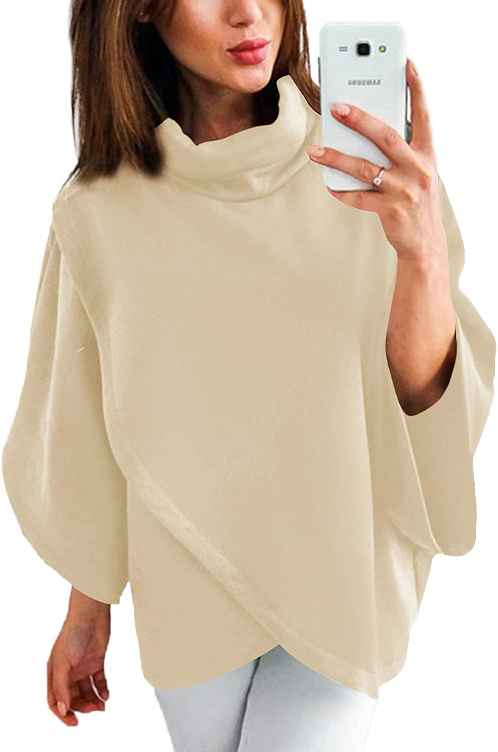 YOINS Outwear Capes Turtleneck Poncho for Women Chimney Collar Flared 3/4 Sleeves Irregular Hem Pullovers