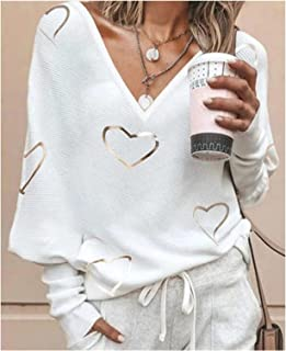 Hong Yi Fei-Shop Women T-Shirt Long Sleeves V-Neck Tops Solid Casual Soft Women's Clothing Print T-Shirts Polos