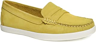 Driver Club USA Women's Leather Made in Brazil Penny Loafer Deck Shoe Boat, Yellow Nubuck, 5 M US