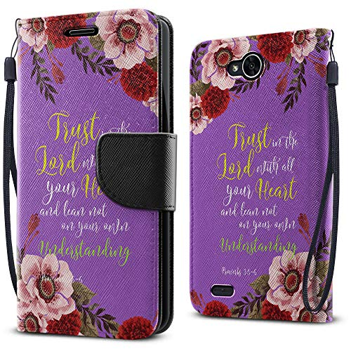 FINCIBO Case Compatible with LG X Power 2 LV7 M320 5.5 inch, Fashionable Flap Wallet Pouch Cover Case Card Holder Kickstand for LG X Power 2 LV7 (NOT FIT LG X Power) - Christian Bible Proverbs 3:5-6