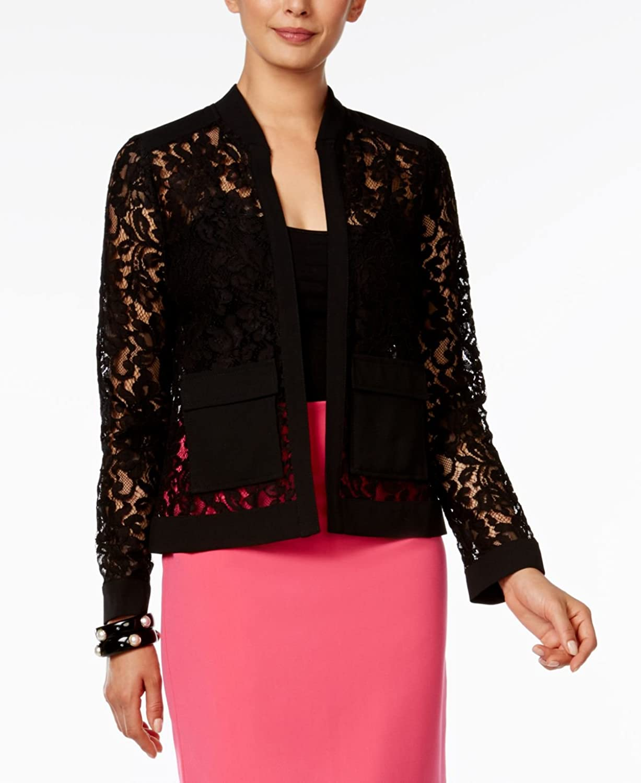 Alfani Womens Lace Bomber Jacket