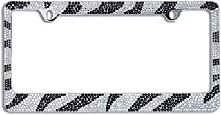BLVD-LPF OBEY YOUR LUXURY Popular Bling 7 Row Crystal Metal Chrome License Plate Frame with Screw Caps (1, Zebra)