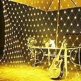 Lichternetz Solar 200 LED Warmweiß Pavillon Terrasse Beleuchtung mit Blinkfunktion 3x2 m 8 Modi grünes Kabel Gartenbeleuchtung Solarlichterkette Außenlichterkette