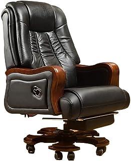 HIZLJJ Respaldo alto ejecutivo de cuero giratoria ajustable silla giratoria de oficina con brazos soporte lumbar ergonómico Escritorio Silla giratoria Silla de oficina con reposapiés silla del jefe Ad