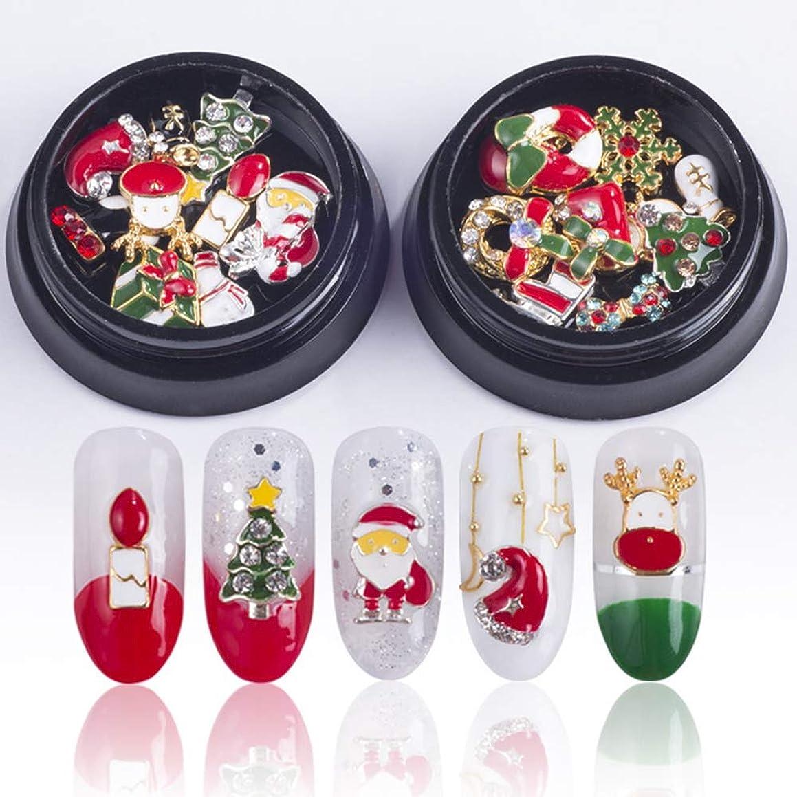 レイプ独特の協力20ピース/ 2ボックスゴールドシルバーメタル3dダイヤモンドネイルアートクリスマスデコレーションチャームネイルグリッターラインストーンネイル用品ジュエリー