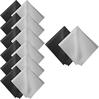 HiDear 20 Pack Gray Black Microfiber Cleaning Cloths - 15 x 18 cm Microfiber Glasses Cloth Great for Cleaning Eyeglasses, ...