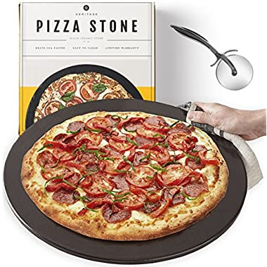 Heritage, Black Ceramic Pizza Stone 15  - Baking Stones for Oven, Grill & BBQ- Non Stain- with Free Pizza Cutter