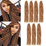 XCCOCO 7 Pack Soft Faux Locs Crochet Hair Straight Goddess Locs Synthetic Hair 18 Inch Black to Honey Blonde Straight Goddess Locs Synthetic Crochet Braids Hair Extension 80g/pack (T1b/27)