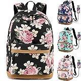 MORGLOVE Blumen Schulrucksack Mädchen Teenager Canvas Freizeit Groß Rucksack Damen mit USB und...