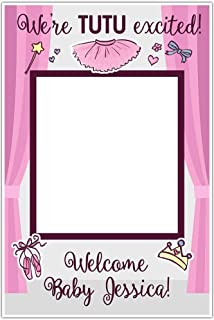 Tutu Ballerina Baby Shower Welcome Baby Custom Selfie Frame Social Media Frame Photo Booth Prop Cutout Poster