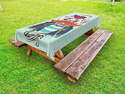 ABAKUHAUS mopshond Tafelkleed voor Buitengebruik, Kapitein Hond met hoed jasje, Decoratief Wasbaar Tafelkleed voor Picknicktafel, 58 x 84 cm, Pale Blue Navy Blue