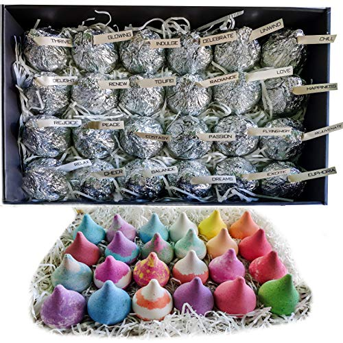 Natural Bath Bomb Gift Set for Women & Men! 24 Moisturizing Bath Drops Bath Bombs Individually Wrapped Party Favors for Adults & Kids!