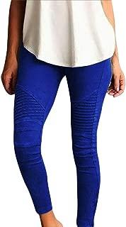Chaofanjiancai Fashion Women Skinny Solid Pants High Waist Stretch Slim Pencil Trousers