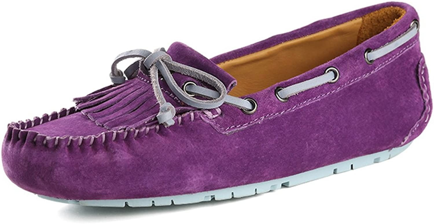 Miyoopark Women's Knot Suede Rubber Sole Driving Loafers Dress Boat shoes