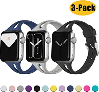 Ouwegaga Slim Band with Large Breathable Hole Compatible for Apple Watch 38mm 40mm 42mm 44mm iWatch Series 5 4 3 2 1 Women Men Water Resistant Straps Multi Color Combo