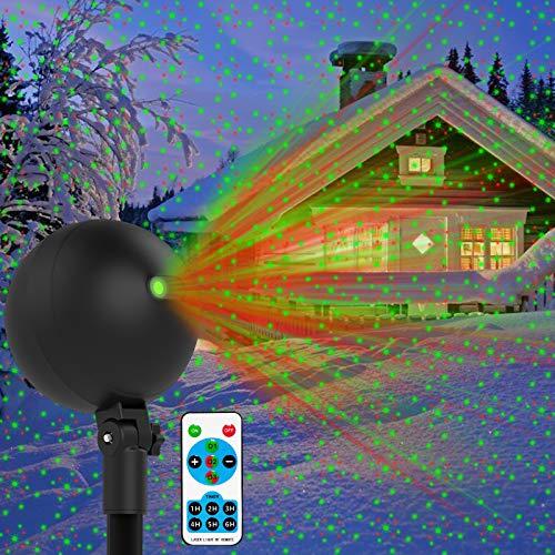Christmas Lights Projector Laser Light Xmas Spotlight Projectors Waterproof Outdoor Landscape Spotlights for Holiday Halloween Yard Decorations (Green and Red)