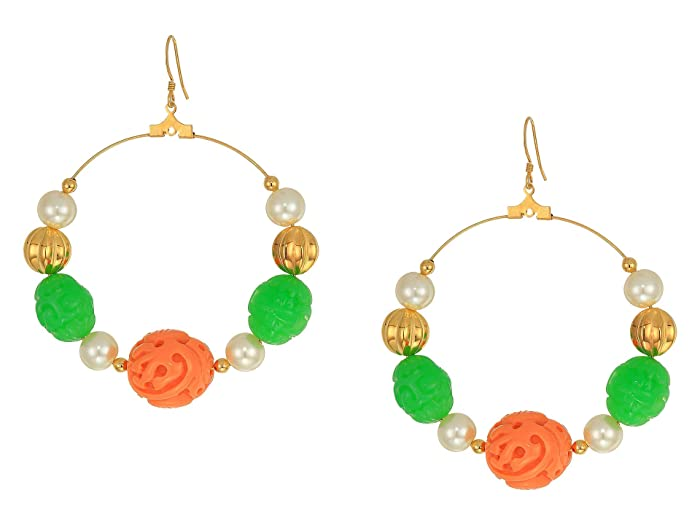 a18970e84 Kenneth Jay Lane Gold with Jade/Coral/White Pearl Hoop Fishhook Earrings