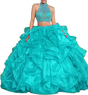 Women's Quinceanera Dresses 2019 Sweet 16 Prom Dress 2 Piece Halter Beaded D229