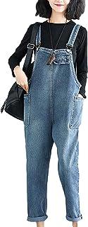 Alppv サロペット レディース デニムパンツ 9分丈 パンツ ロングパンツ カジュアル おしゃれ デニム サロペット ズボン ゆったり ジーンズ