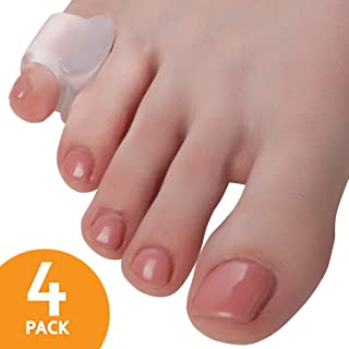 Toe Separators Hammer Toe Straightener - 4-Pack Little Toe Spacers - Gel Spreader - Correct Crooked Pinky Toes - Bunion Corrector and Bunion Relief - Pads for Overlapping, Hallux Valgus, Diabetic Feet