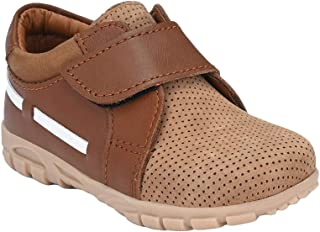 Hopscotch Tuskey Shoes Boys Genuine Leather Lining Leather Strap Leather Shoe in Tan Color